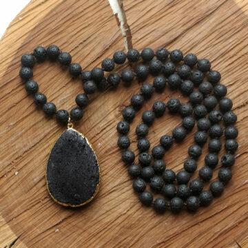 Lávový náhrdelník s velkým kamenem #1