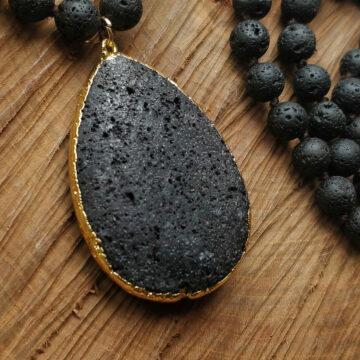 Lávový náhrdelník s velkým kamenem #2
