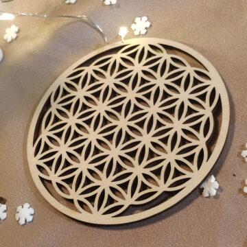 Dřevěný tácek pod svíčku s květem života #1