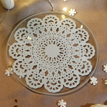 Skleněný tácek pod svíčku s mandalou #1