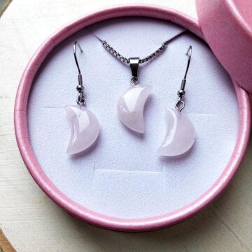 Sada šperků, náušnice a řetízek s růženínovým měsícem na oceli II #1