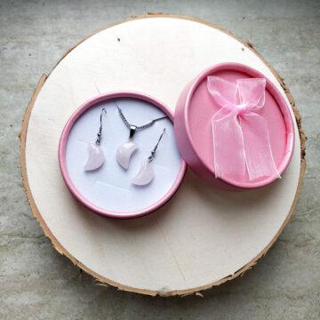 Sada šperků, náušnice a řetízek s růženínovým měsícem na oceli II #2