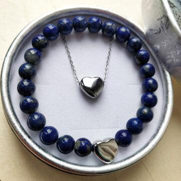 Sada řetízku a minerálního náramku z lapisu lazuli se srdíčky #1