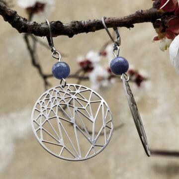 Ocelové náušnice tanzanit s krystaly #1