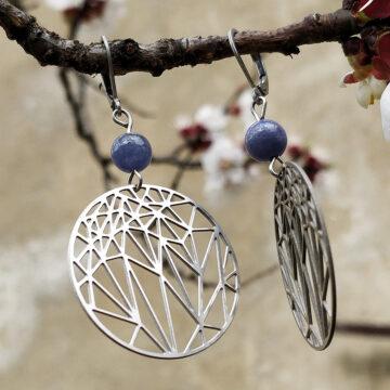 Ocelové náušnice tanzanit s krystaly #2