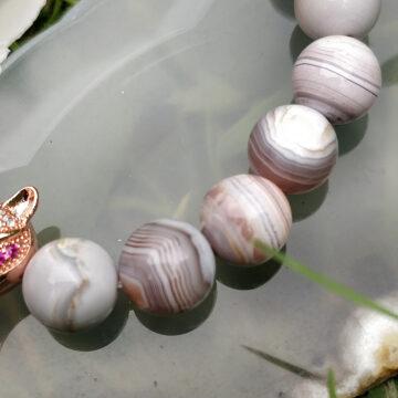 Minerální náramek z růžového botswanského achátu VII #2